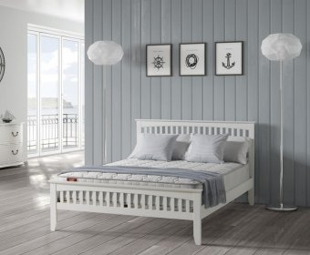 Sandy 4ft Small Double White Wooden Bed
