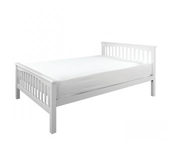 Sandra White Wooden Small Double 4ft High Foot End Bed