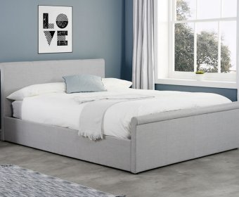 Holdings Small Double 4ft Grey Upholstered Ottoman Bed