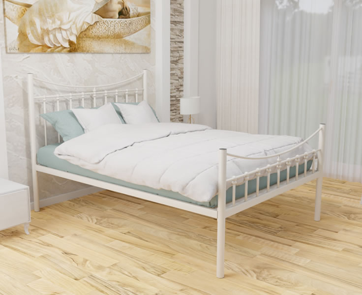 Small Double Frame Allerton Ivory Small Double 4ft Metal Mesh Bed low footend