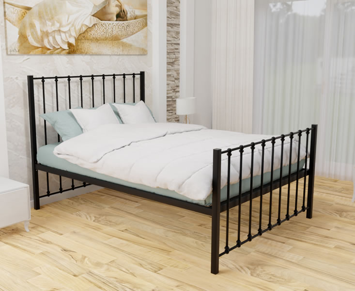 Small Double Frame Pelham Black Small Double 4ft Metal Mesh Bed low footend