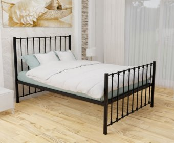 Pelham Black Small Double 4ft Metal Mesh Bed