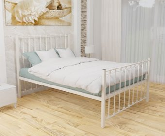 Pelham Ivory Small Double 4ft Metal Mesh Bed