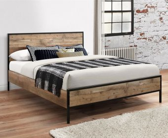 Ashvale Small Double 4ft Rustic Wooden Bed