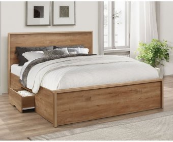 Stark Small Double 4ft Oak Wooden Storage Bed