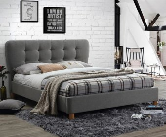 Sweden Small Double 4ft Grey Upholstered Bed