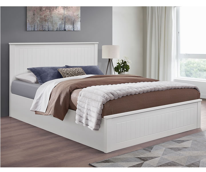 Tyme Small Double 4ft White Wooden Ottoman Bed Just 4ft Beds