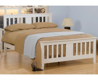 Falco 4ft Small Double White Wooden Bed