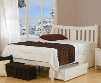 Halcyon 4ft Small Double White Wooden Bed