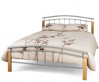 Tetras Small Double 4ft Silver Metal and Beech Bed