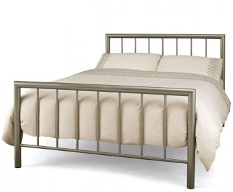 Modena Small Double 4ft Champagne Metal Bed