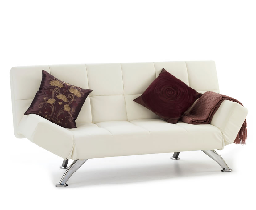 Venice 4ft orchid white faux leather sofa bed just 4ft beds for Sofa bed 4 in 1