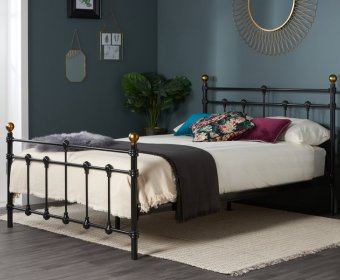 Cosenza Small Double 4ft Black Metal Bed