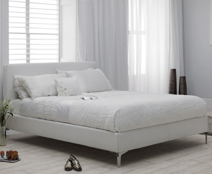 Ronco Small Double 4ft White Faux Leather Bed - Just 4ft Beds