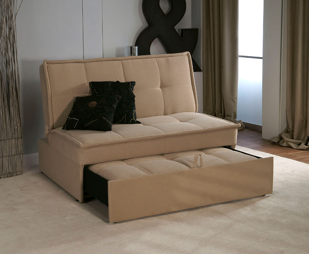 Santander 4ft Beige Upholstered Sofa Bed