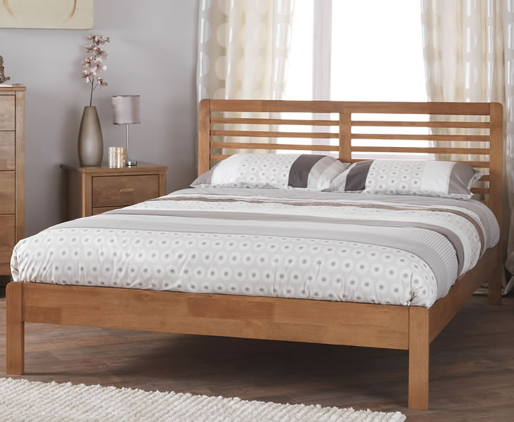 Esther Small Double 4ft Honey Oak Wooden Bed - Just 4ft Beds