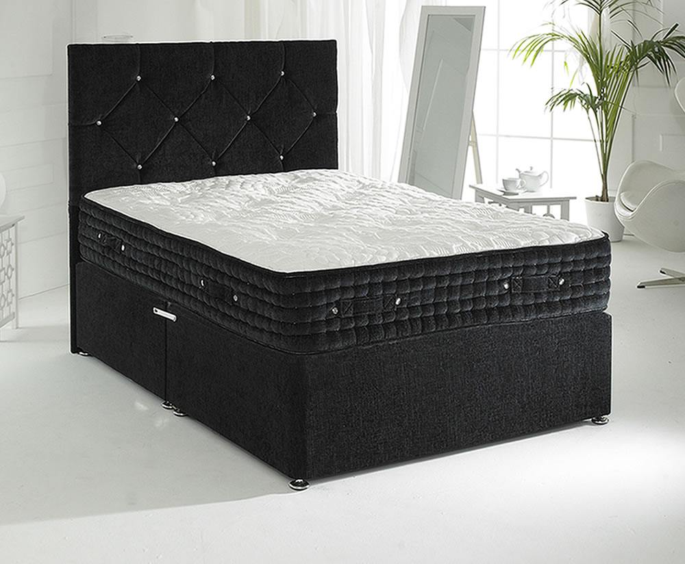 Majestic black small double 4ft divan set for Double divan bed set