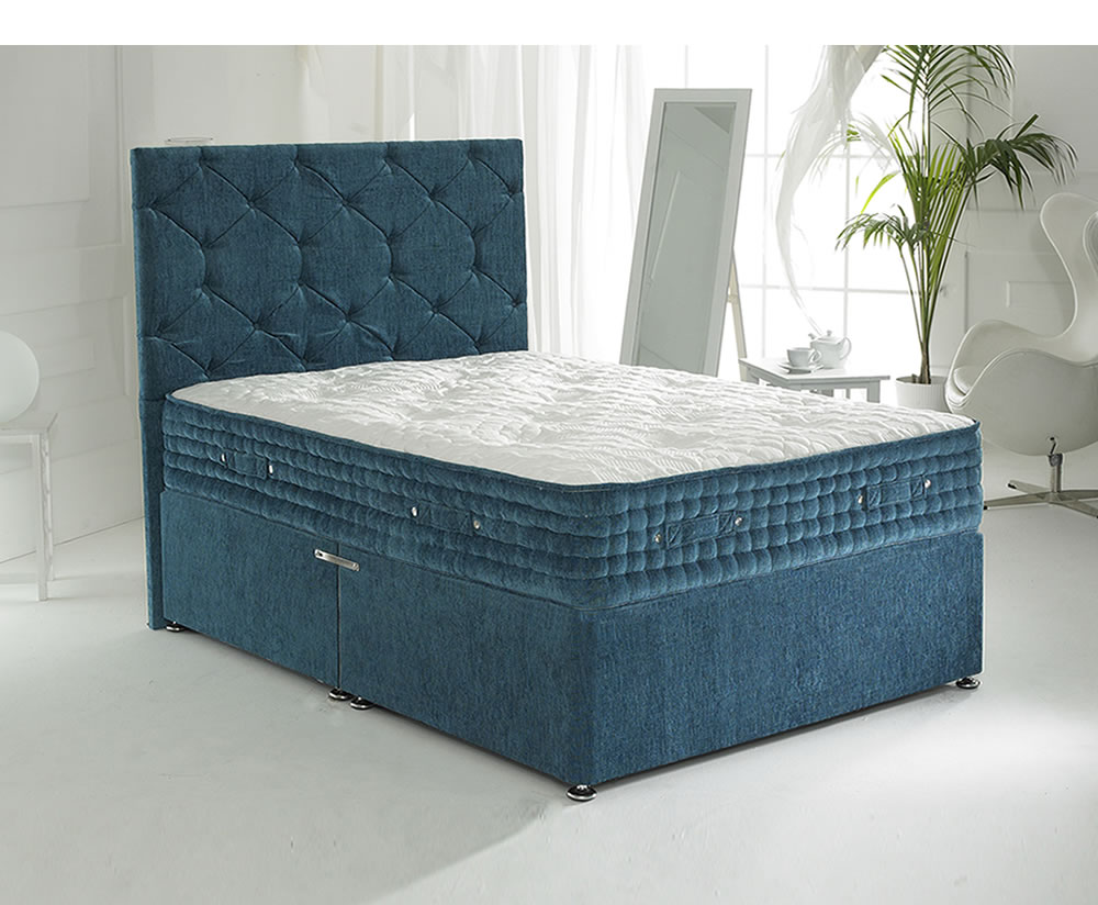 Majestic blue small double 4ft divan set for Small double divan set