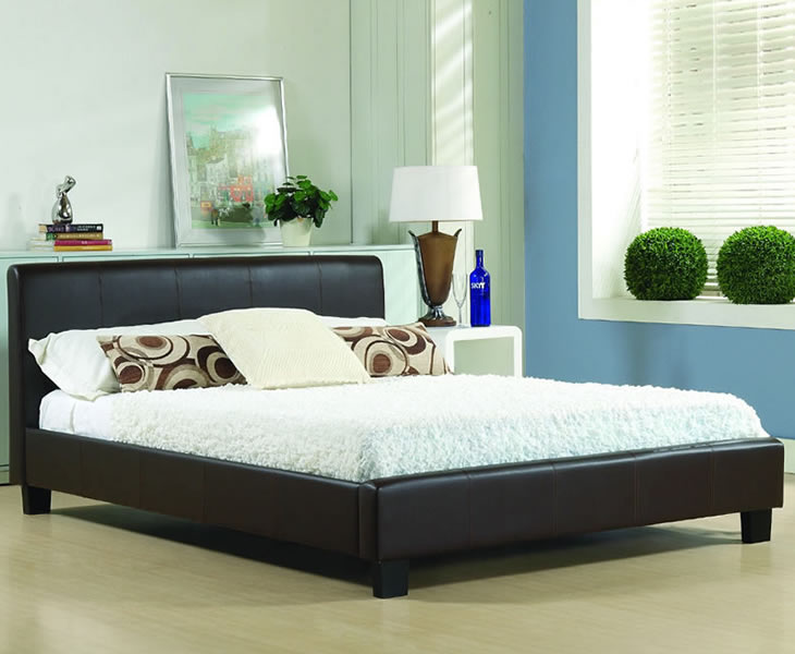 just4ftbeds.co.uk Easton Small Double 4ft Brown Faux Leather Bed