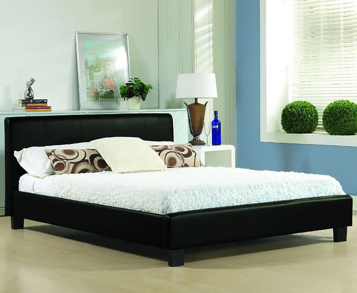 just4ftbeds.co.uk Easton Small Double 4ft Black Faux Leather Bed