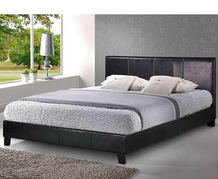 just4ftbeds.co.uk Salerno Small Double 4ft Black Faux Leather Bed