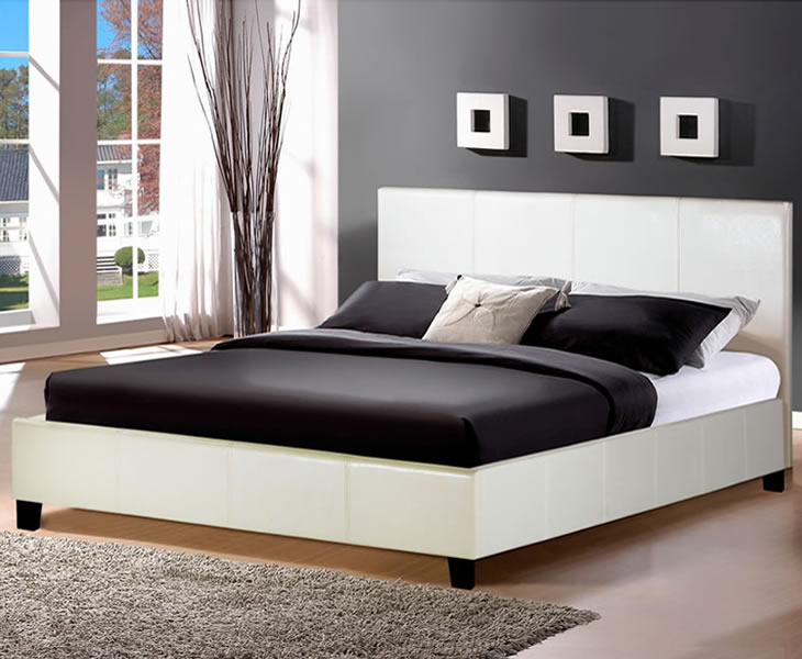 just4ftbeds.co.uk Salerno Small Double 4ft White Faux Leather Bed