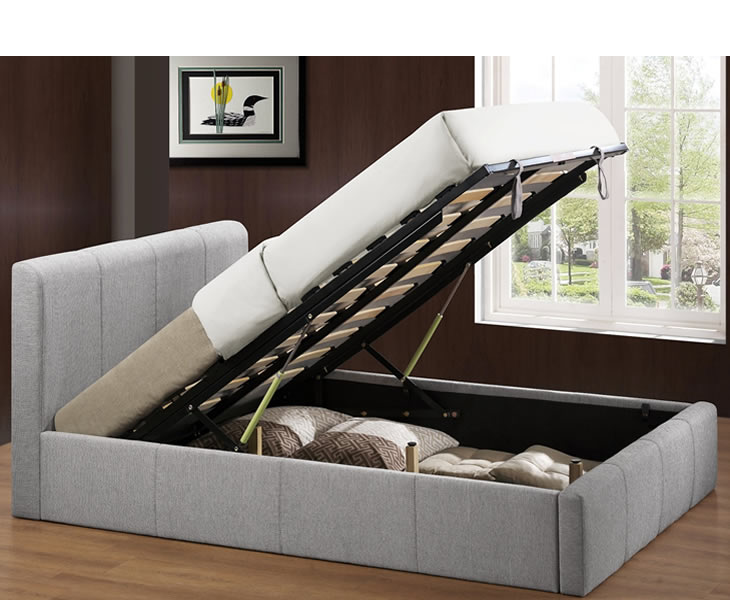 Reynolds small double 4ft grey upholstered ottoman bed for Small double bed ottoman storage