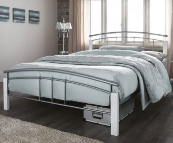 Tetras Small Double 4ft Silver Metal and White Bed