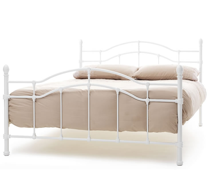 just4ftbeds.co.uk Paris White Metal Small Double 4ft Bed