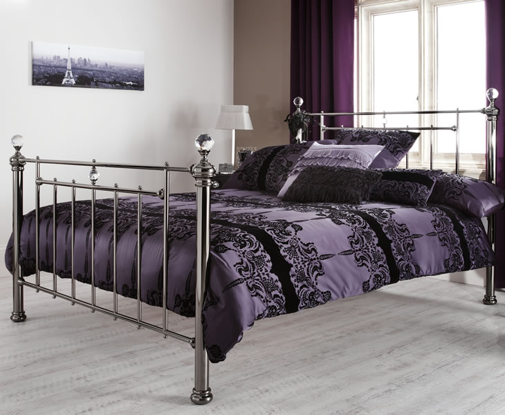 Clara black nickel small double 4ft metal bed just 4ft beds for Small king bed frame